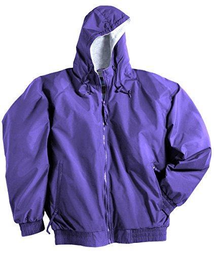 Tri-Mountain 3600 Men's Bay Watch Water Resistant Hooded Jacket Purple - Bay Leather Jacket