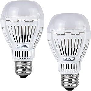 SANSI Dusk to Dawn Light Bulb, 8W (60 Watt Equivalent) 800lm A19 Photocell Light Bulb, 5000K Daylight E26 Automatic On/Off LED Outdoor Light Bulbs for Porch, Patio, Garden, Hallway, 2 Pack