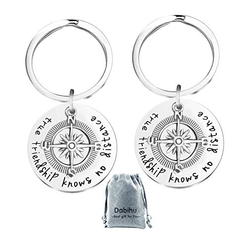 2 pcs Best Friend Keychain Friendship Jewelry Keychain for Christmas, Birthday Gift for Best Friends - True Friendship Knows No Distance keyring Long Distance Relationship Gifts