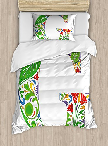 2 Part Arrangements (Letter G Duvet Cover Set Twin Size by Ambesonne, Colorful Floral Arrangement with Capital G Symbol Part of Alphabet Vibrant Design, Decorative 2 Piece Bedding Set with 1 Pillow Sham, Multicolor)