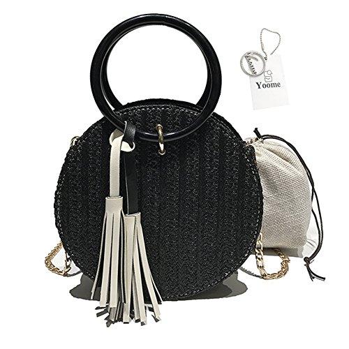 Yoome Straw Handbags Women Beach Shoulder Bag Summer Top Handle Crossbody Round Purse Ladies Woven Fashion Crochet Satchel with Metal Chain Strap Black
