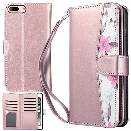 UrbanDrama iPhone 7 Plus Case, iPhone 8 Plus Case, Floral Flip Wallet Folio Cover PU Leather Kickstand Credit Card Slot Holder Protective Case for iPhone 7 Plus/iPhone 8 Plus 5.5, Rose Gold