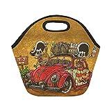 InterestPrint Funny Mexican Skulls Travel Reusable Insulated Neoprene Lunch Tote Bag Cooler 11.93'' x 11.22'' x 6.69'', Red Car Portable Lunchbox Handbag for Men Women Adult Kids