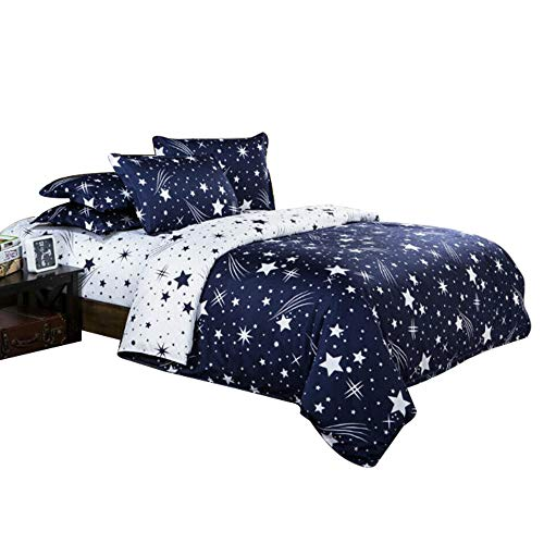 ZHH Dream Star Duvet Cover Set, Comforter Set Luxury Soft Bedding, Space Theme Kids Quilt Cover(Blue White, 1 Duvet Cover & 2 Pillowcases, Queen Size)