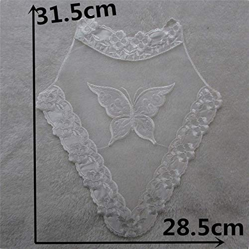 Lace Crafts - White/Black Tulle mesh Butterfly Applique Pattern Lace Fabric Sewing Applique Decorate Lace Collar Neckline DIY Sewing Accessory - (Color: YL866)