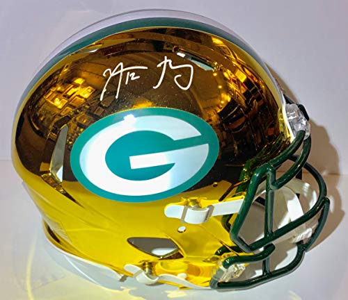 Aaron Rodgers Autographed Green Bay Packers Proline Authentic CHROME Speed Helmet with SB MVP Inscription. -