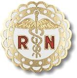 Prestige Medical Emblem Pin, RN (Round Sculptured Edge)