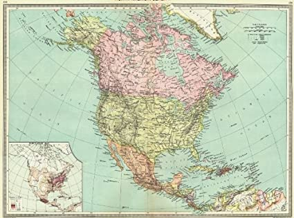 Amazon Com North America Map Of Population 1907 Old Map