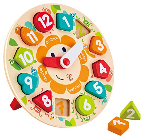 (Hape Chunky Clock Puzzle Game, Multicolor, 9.65'' x 1.38'')