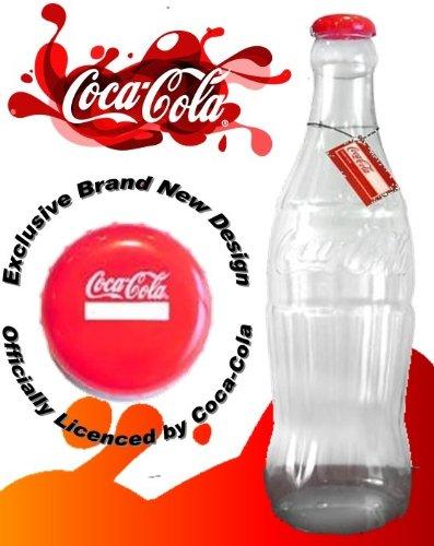 Hucha gigante de plástico, diseño de botella de Coca Cola. 60 cm de altura