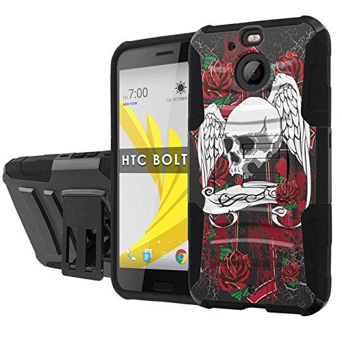 HTC BOLT Phone Case [NakedShield] [Black/Black] Total Defense Armor Case [KickStand] [Holster] [Screen Protector] - [Skull Wing] for HTC BOLT [5.5