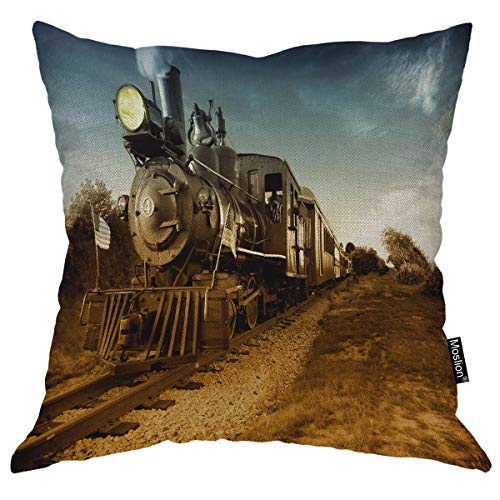 (Moslion Train Pillows Vintage Steam Engine Locomotive Train Moving Down Railroad Track Towards Camera Brown Blue Throw Pillow Cover Cotton Linen Decorative Pillow Case Home Sofa Cushion 24X24 Inch )