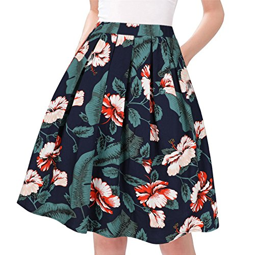 Taydey A-Line Pleated Vintage Skirts for Women (L, Green Leaf)