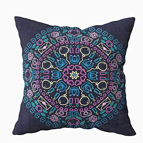 Musesh 20x20 Pillow Covers, Mandala Ethnic Round Ornament Pattern with Stationery for Sofa Home Decorative Pillowcase Zip Pillow Covers ()