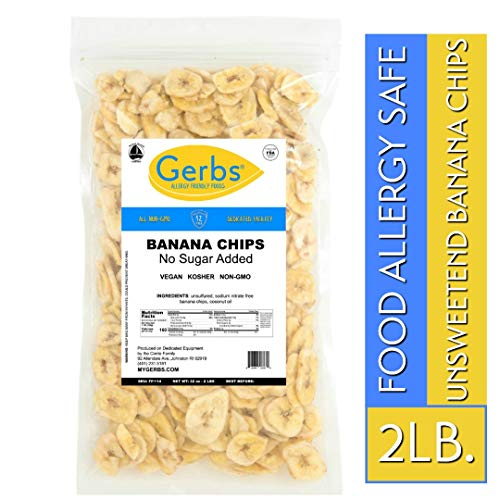 - Gerbs Banana Chips Unsweetened, 2 LBS - Unsulfured & Preservative Free - Top 14 Allergy Friendly & NON GMO - Product of Philippines