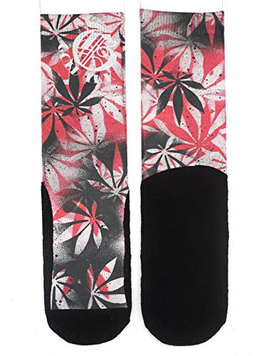 Gold Ink Custom Premium Novelty Socks Gift Stance With Real Tattoo Art Prints (Red Flowers Art)