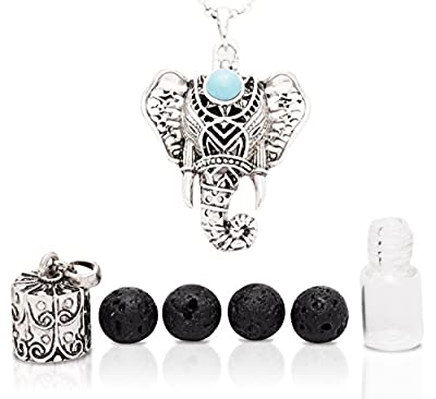 Eternal Elephant Aromatherapy Necklace 2 Piece Diffuser Locket Bottle Kit