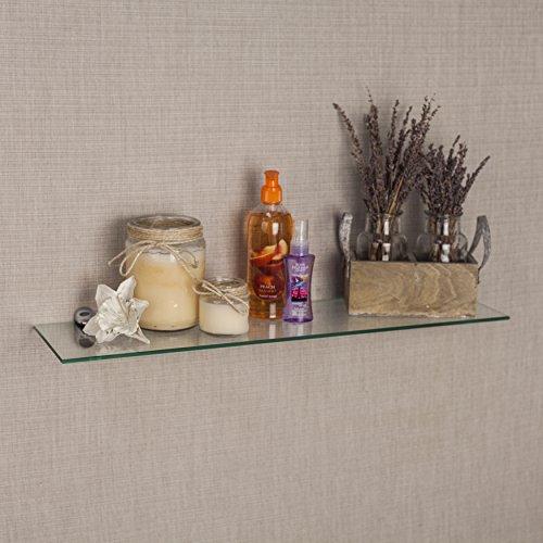 Review Clear Glass Floating Shelf with Chrome Brackets By Danya B by Danya B