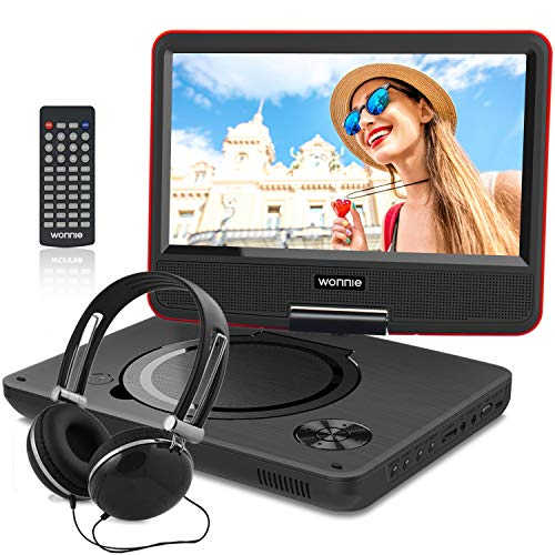 9 Inch Portable DVD Player for Kids with Swivel Screen, USB / SD Slot (RED)