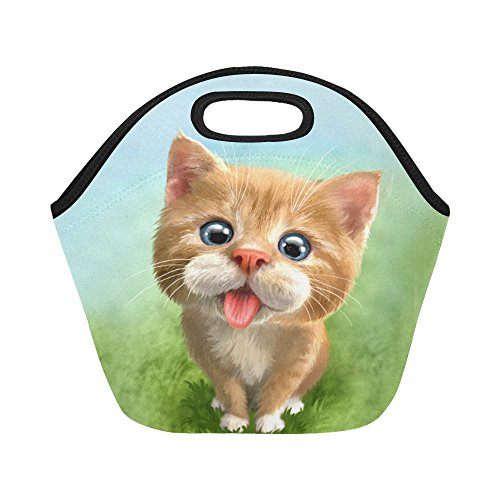 InterestPrint Insulated Lunch Tote Bag Cute Cat Green Meadow Reusable Neoprene Cooler, Funny Kitty Portable Lunchbox Handbag for Men Women Adult Kids Boys Girls Meadow Lunch Box