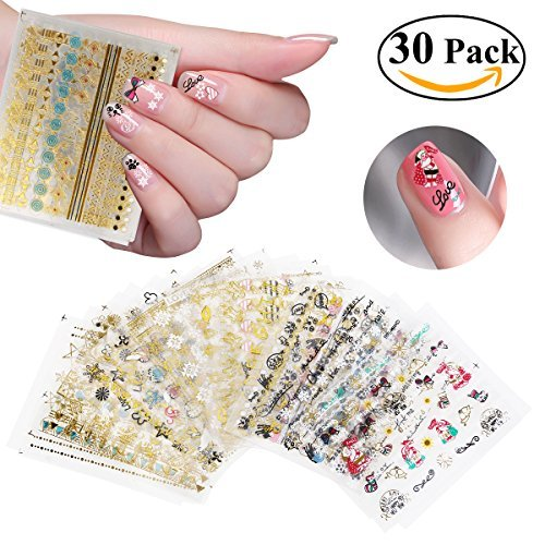RUIMIO 30 Sheet Nail Stickers Decals 3D Nail Art Stencils -