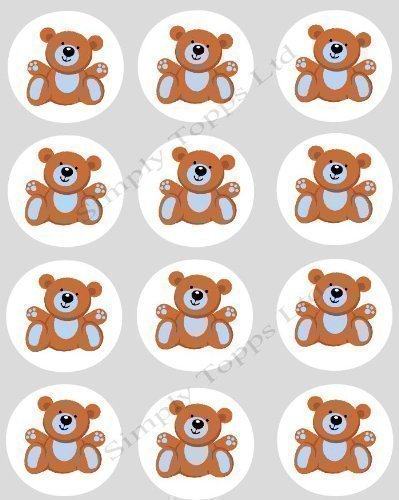 Teddy Topps (12 Teddy Bear Blue CUPCAKE TOPPERS - precut 40mm ricepaper cake decorations)