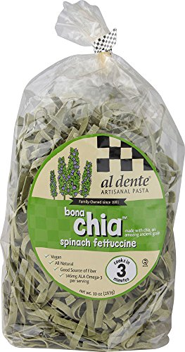 Al Dente Bona Chia Spinach Fettucine Vegan Pasta -- 10 oz Pack of 2