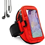 Zippered Sweatproof Red Workout Armband with In-Ear Stereo Earphones Suitable for Nokia Smartphones 5'' to 6inch