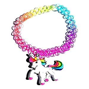 Rainbow Unicorn Tattoo Choker with Enamel Pendant Henna Horse Pony Childrens Adult Stretch