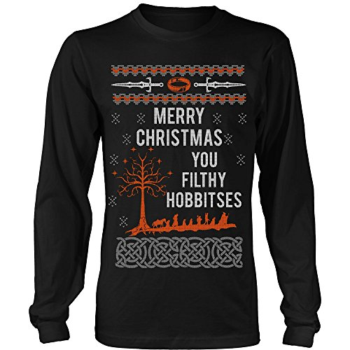Merry Xmas You Filthy Hobbitses Lord of The Rings Ugly Christmas Sweater Long Sleeve Shirt