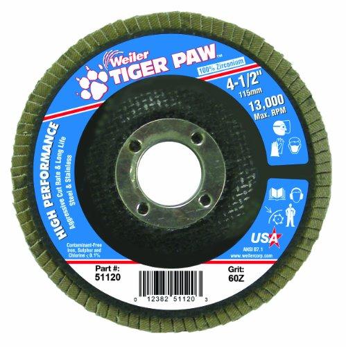 Weiler 51120 Tiger Paw High Performance Abrasive Flap Disc, Type 29 Angled Style, Phenolic Backing, Zirconia Alumina, 4-1/2