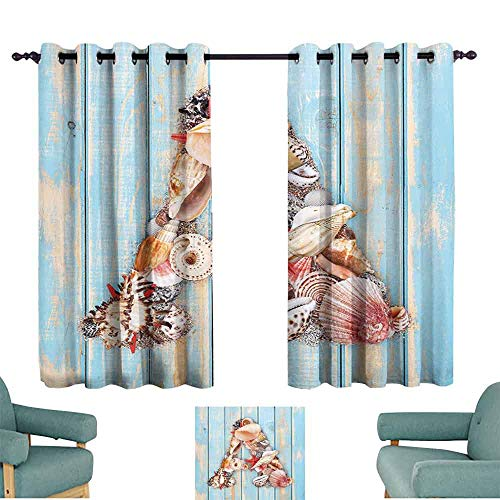 - Mannwarehouse Letter A Light Luxury high-end Curtains Letter A with Seashells on Pale Wooden Board Invertebrates Animal Noise Reducing 63