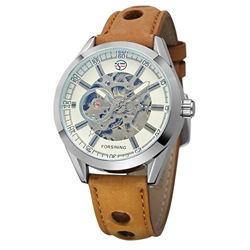 (Forsining Casual Sport Series Automatic Self Wind Mens Wrist Watch Mechanical Transparent Skeleton Watches)
