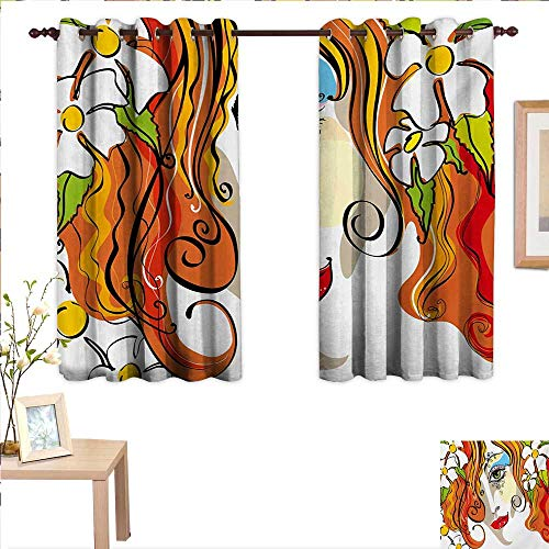 Abstract Waterproof Window Curtain Portrait of The Young Woman with Red Hair and Blooming Flowers and Make Up Art 63