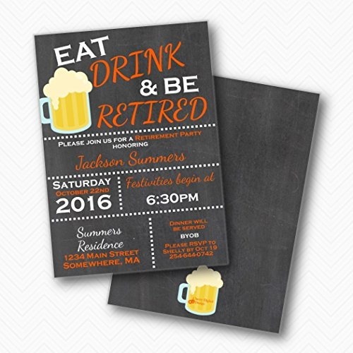 (Eat Drink and Be retired Retirement Party invitations | Envelopes Included)