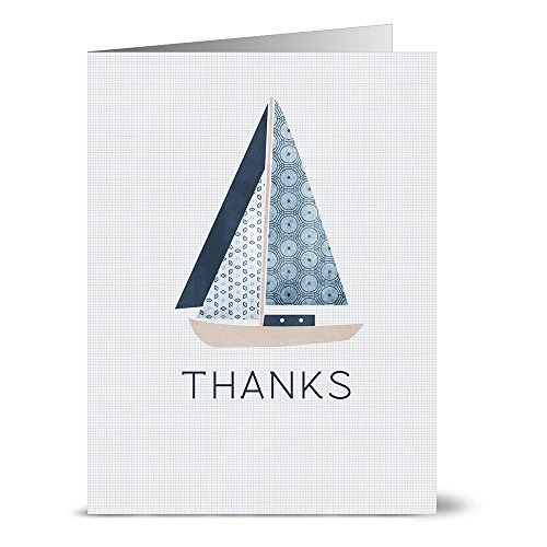 (24 Thank You Note Cards - Nautical Sailboat - Blank Cards - Gray Envelopes Included by Note Card Cafe)