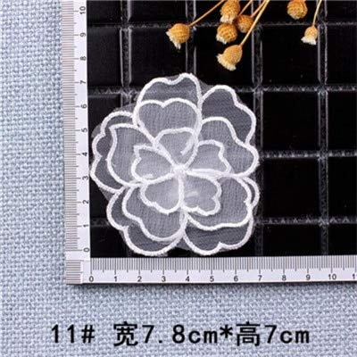 Shoppy Star White Color Organdy Pearl Flower Patches Embroidered Cloth Stickers Bride Veil Dress Accessories Sew On Patch for Clothing DIY: B11 (Organdy Flowers)