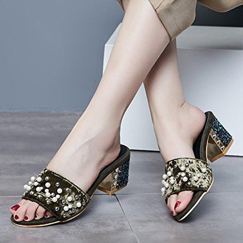 AIYOUMEI Damen Wildleder Offen Blockabsatz Pantoletten mit Glitzer Absatz 6cm Absatz Bequem Modern Sandalen UcSJUGp