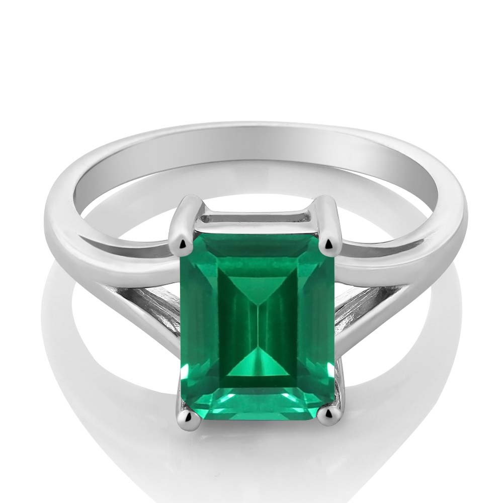 Gem Stone King Sterling Silver Emerald Cut Green Simulated Emerald Women s Ring 2.30 Cttw Available 5,6,7,8,9