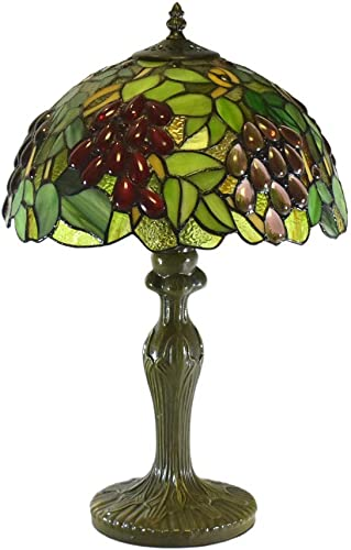 Tiffany Style Table Lamps Grapes Desk Light 18 Inches Tall Stained Glass 12 Inches Wide Lamp Shade Vintage Antique Victorian Lamp