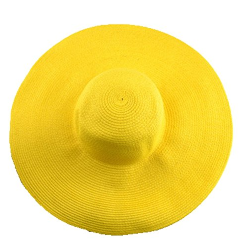 AngelCity Brides Womens Beach Hat Striped Straw Sun Hat Floppy Big Brim Hat (Yellow)