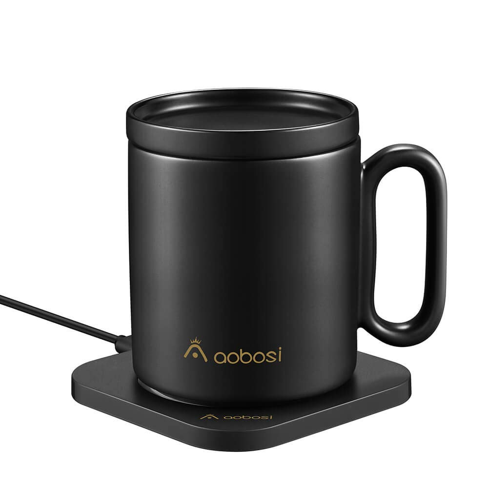 Coffee Mug Warmer with Wireless Charger (2 in 1), AAOBOSI Mug Warmer, Wireless Heating/Wireless Charging, Constant Temperature (about 131°F/55°C) for Home & Office Use