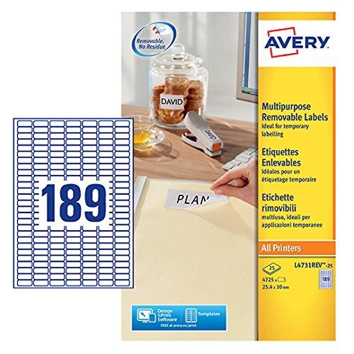 Avery L4731REV-25 Etichette Rimovibili, 189 Etichette per Foglio, 25 Fogli, 25.4x10, Bianco 534578