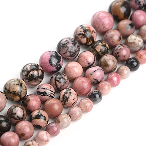 iSTONE 100% Natural Stone Round Rhodonite Gemstone Beads Strand 16 Inch,Jewelry Making Beads