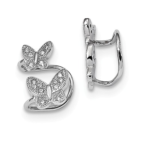 925 Sterling Silver Cubic Zirconia Cz Double Butterfly Right Cuff Earrings Animal Non Pierced Fine Jewelry Gifts For Women For Her