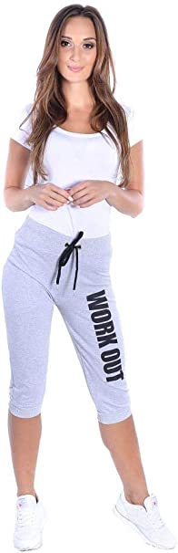 eloModa Damen 3//4 Sport Freizeithose Jogginghose mit Work Out;