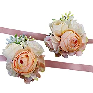 USIX 2pc Pack-Handmade Artificial Peony Flower Wrist Corsage With Satin Wristband for Girl Bridesmaid Wedding Party Prom Flower Corsage Hand Flower (Champagne Wrist Corsage x2) 97