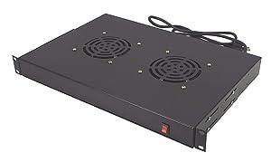CNAweb 1U Dual Fan Rack Mount Cabinet Server Fan Unit Cooling System 110V - Black