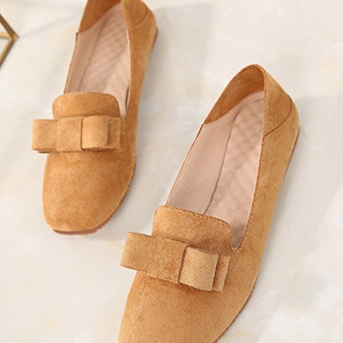 Hoxekle Womens Bowknot Korean Version Low Heels Low Top Square Toe Suede Slip On Loafer Shoes shq1bAuVVr