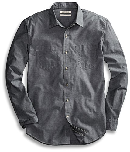 Goodthreads Men's Standard-Fit Long-Sleeve Chambray Shirt, Grey, Large